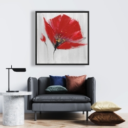Framed 24 x 24 - Two red flowers on gray background