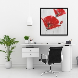 Framed 24 x 24 - Three red flowers with golden center