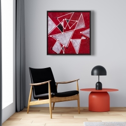 Framed 24 x 24 - White triangles on red background