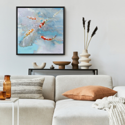 Framed 24 x 24 - Koi fish swimming in blue water