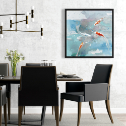 Framed 24 x 24 - Koi fish in blue water