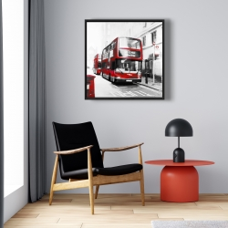 Framed 24 x 24 - Red bus in a gray street