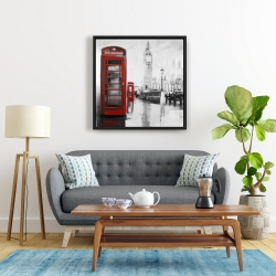 Framed 24 x 24 - Red phonebooth with the big ben