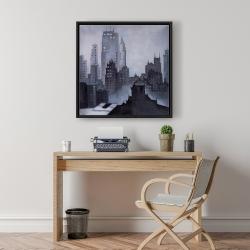 Framed 24 x 24 - Illustrative gray city