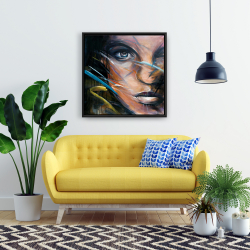 Framed 24 x 24 - Colorful woman face