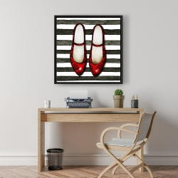 Framed 24 x 24 - Red glossy shoes on striped background
