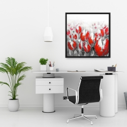 Framed 24 x 24 - Abstract red tulips