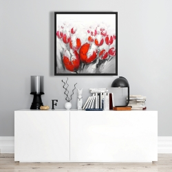 Framed 24 x 24 - Red tulips