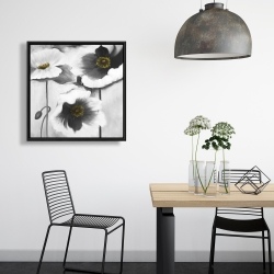 Framed 24 x 24 - Black and white flowers