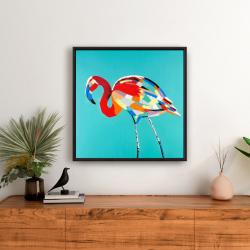 Framed 24 x 24 - Abstract flamingo