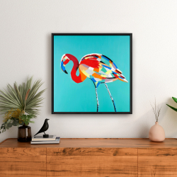 Framed 24 x 24 - Abstract flamingo