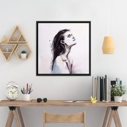 Framed 24 x 24 - Watercolor beautiful woman with dark hair