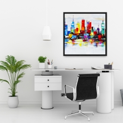 Framed 24 x 24 - Abstract and colorful city