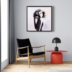 Framed 24 x 24 - Watercolor beautiful young woman