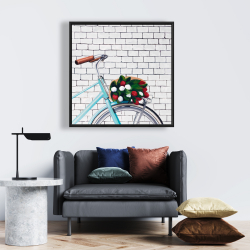 Framed 24 x 24 - Bicycle with a bouquet of tulips