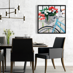 Framed 24 x 24 - Bicycle with tulips flowers in basket