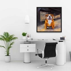 Framed 24 x 24 - Smiling bulldog