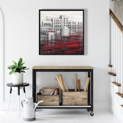 Framed 24 x 24 - Gray city with red clouds