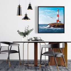 Framed 24 x 24 - Lighthouse at the edge of the sea
