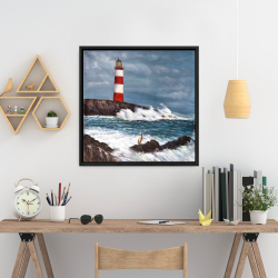Framed 24 x 24 - Lighthouse at the edge of the sea unleashed