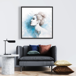 Framed 24 x 24 - Watercolor abstract girl profile view