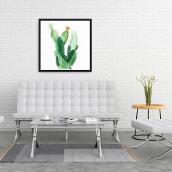 Framed 24 x 24 - Watercolor paddle cactus with flower