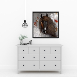 Framed 24 x 24 - Proud brown horse