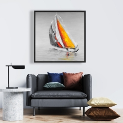 Framed 24 x 24 - Two colors sailing boat
