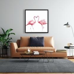 Framed 24 x 24 - Two pink flamingo watercolor