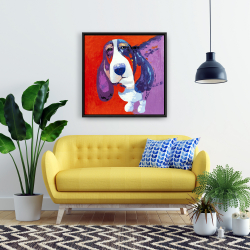 Framed 24 x 24 - Abstract colorful basset dog