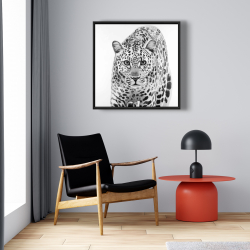 Framed 24 x 24 - Leopard ready to attack