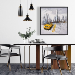 Framed 24 x 24 - Yellow taxi and city sketch