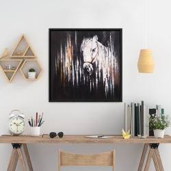 Framed 24 x 24 - White horse in the dark