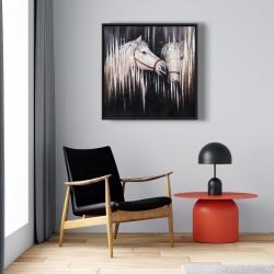 Framed 24 x 24 - Two white horses kissing