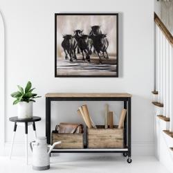 Framed 24 x 24 - Group of running bulls