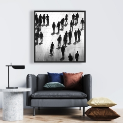 Framed 24 x 24 - Silhouettes of people on the street