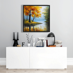 Framed 24 x 24 - Trees by the lake
