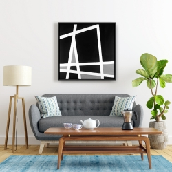 Framed 24 x 24 - Black and white abstract shapes