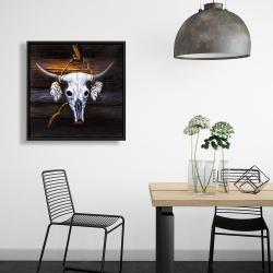 Framed 24 x 24 - Hanged bull skull