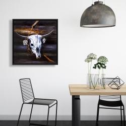 Framed 24 x 24 - Hanged skull on a wood wall