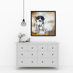 Framed 24 x 24 - Curious puppy dog