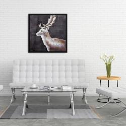 Framed 24 x 24 - Deer profile view in the dark