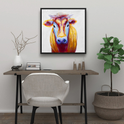 Framed 24 x 24 - Colorful country cow