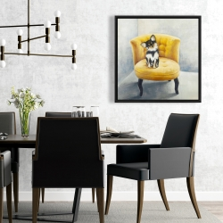 Framed 24 x 24 - Long-haired chihuahua on a yellow armchair