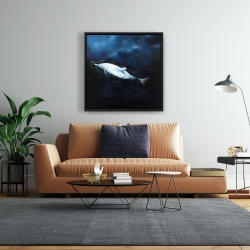 Framed 24 x 24 - Swimming dolphin