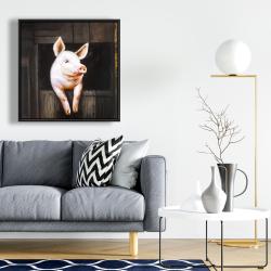 Framed 24 x 24 - Smiling pig
