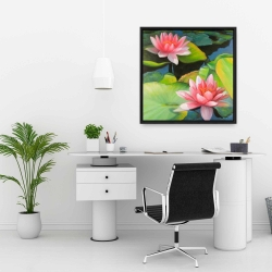 Framed 24 x 24 - Water lilies and lotus flowers