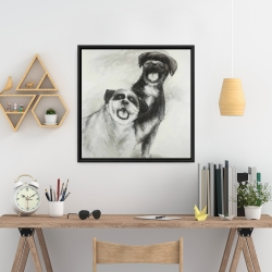 Framed 24 x 24 - Happy dogs sketch