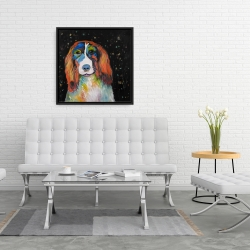 Framed 24 x 24 - Colorful dog