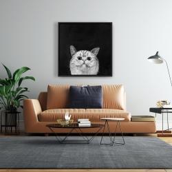 Framed 24 x 24 - Watching cat